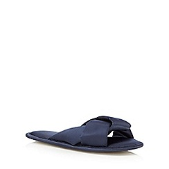The Collection - Navy satin crossover open toe mule slippers