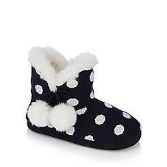 Lounge & Sleep - Red spotty knit fur trim slipper boots