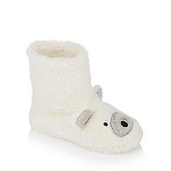 Lounge & Sleep - Ivory polar bear supersoft faux fur slipper boots