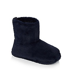 Lounge & Sleep - Navy 'Slouchy' supersoft faux fur slipper boots