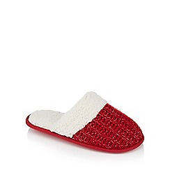 Lounge & Sleep - Red 'Sherpa' glitter knit mules