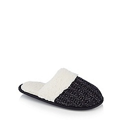 Lounge & Sleep - Navy 'Sherpa' glitter knit mules