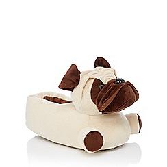 Lounge & Sleep - Light brown pug slippers