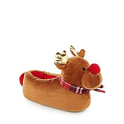 Lounge & Sleep - Brown reindeer slippers