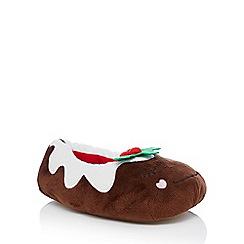 Lounge & Sleep - Dark brown Christmas pudding slippers
