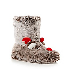 Lounge & Sleep - Brown reindeer supersoft faux fur slipper boots