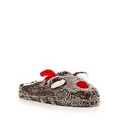 Lounge & Sleep - Brown fluffy reindeer mule slippers
