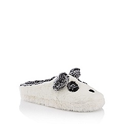 Lounge & Sleep - White fluffy panda mule slippers