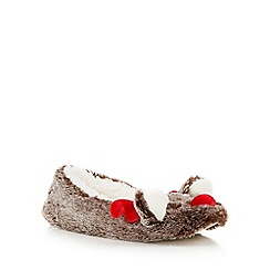 Lounge & Sleep - Brown fluffy reindeer ballet slippers