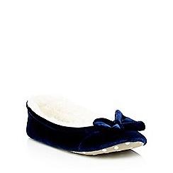 Lounge & Sleep - Navy velvet ballet style slippers