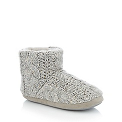 Lounge & Sleep - Grey sequin cable knit slipper boots