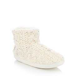 Lounge & Sleep - Cream sequin cable knit slipper boots