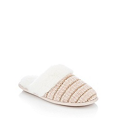 Lounge & Sleep - Pink chenille faux fur cuff mule slippers