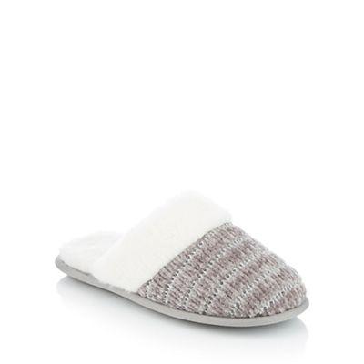 lounge & dormir - Gris  - chenille pantoufles pantoufles pantoufles de fausse fourrure. 1f9054
