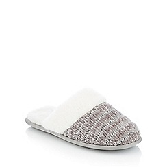 Lounge & Sleep - Grey chenille faux fur cuff mule slippers