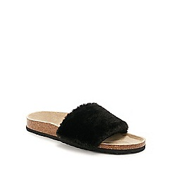Lounge & Sleep - Black fur open toe mule slippers