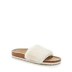 Lounge & Sleep - Cream faux fur open toe mule slippers