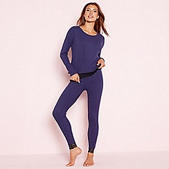 The Collection - Purple ribbed cotton blend 'Victoria' long sleeve pyjama set