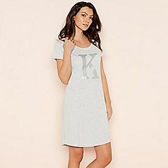 Lounge & Sleep - Light grey 'K' glitter monogram T-shirt nightdress