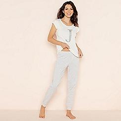 Lounge & Sleep - Light grey 'J' glitter monogram short sleeve pyjama set