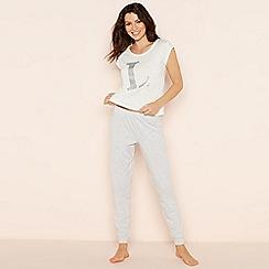 Lounge & Sleep - Light grey 'L' glitter monogram short sleeve pyjama set
