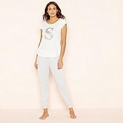Lounge & Sleep - Light grey 'S' glitter monogram pyjama set