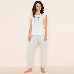 Lounge & Sleep - Light grey 'H' glitter monogram short sleeve pyjama set