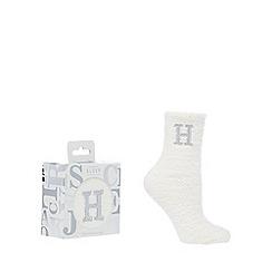 Lounge & Sleep - Cream monogram sparkle fluffy 'H' socks