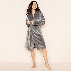Lounge & Sleep - Grey 'J' glitter monogram fleece dressing gown