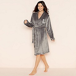 Lounge & Sleep - Grey 'L' glitter monogram fleece dressing gown