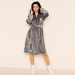 Lounge & Sleep - Grey 'M' glitter monogram fleece dressing gown