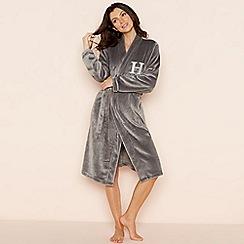 Lounge & Sleep - Grey 'H' glitter monogram fleece dressing gown