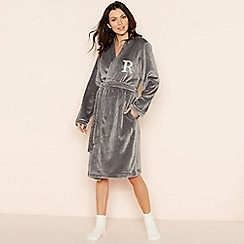 Lounge & Sleep - Grey 'R' glitter monogram fleece dressing gown