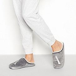 Lounge & Sleep - Grey monogram 'A' fluffy mule slippers