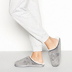 Lounge & Sleep - Grey monogram 'C' fluffy mule slippers