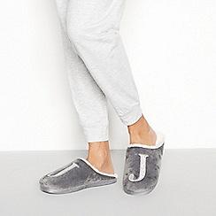Lounge & Sleep - Grey monogram 'J' fluffy mule slippers