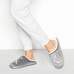 Lounge & Sleep - Grey monogram 'K' fluffy mule slippers