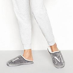 Lounge & Sleep - Grey monogram 'M' fluffy mule slippers