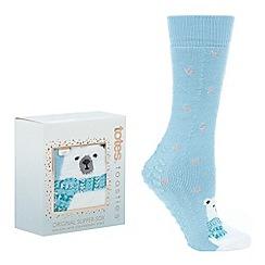 Totes - Light blue polar bear 'Original' slipper socks