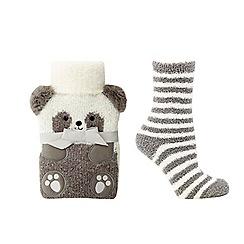 Lounge & Sleep - Cream 'Panda' hot water bottle and socks set