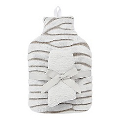 Lounge & Sleep - Grey zebra embossed hot water bottle and cosy sock set