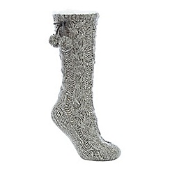 Lounge & Sleep - Grey sequin cable knit slipper socks