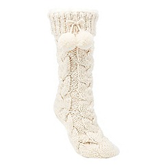 Lounge & Sleep - Cream chunky cable knit slipper socks