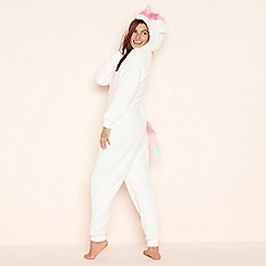Lounge & Sleep - Cream unicorn fleece hooded onesie