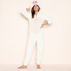 Lounge & Sleep - Petite cream unicorn fleece hooded onesie