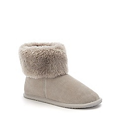 Lounge & Sleep - Grey suede fur cuff slipper boot