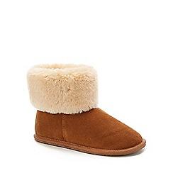 Lounge & Sleep - Tan suede fur cuff slipper boot