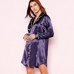 The Collection - Purple 'Mystery' plain satin nightshirt