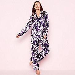 The Collection - Purple floral print 'Mystry' satin pyjama set