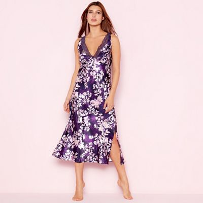 The Collection Purple floral print  Mystry  satin nightdress  848958ce1